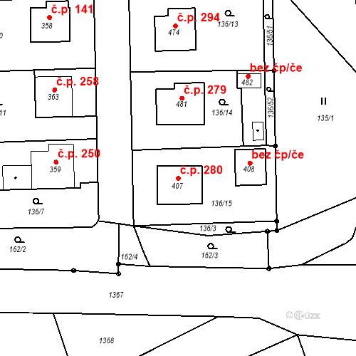 Katastrální mapa Stavební objekt Mirotice 280, Mirotice
