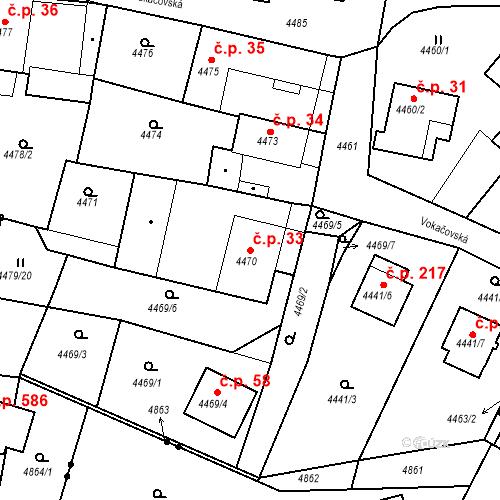 Katastrální mapa Stavební objekt Příbram V-Zdaboř 33, Příbram