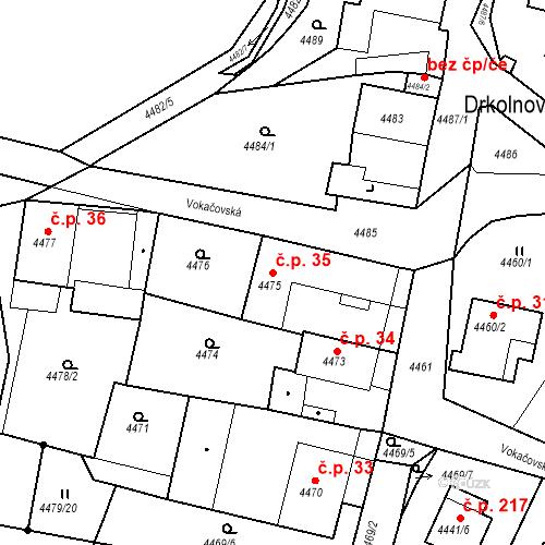 Katastrální mapa Stavební objekt Příbram V-Zdaboř 35, Příbram