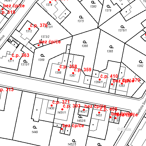 Katastrální mapa Stavební objekt Teplické Předměstí 359, Bílina