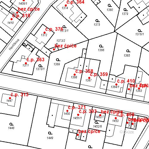 Katastrální mapa Stavební objekt Teplické Předměstí 358, Bílina