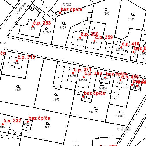Katastrální mapa Stavební objekt Teplické Předměstí 371, Bílina