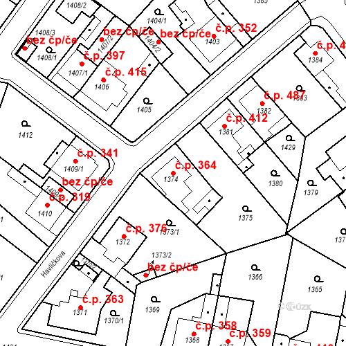 Katastrální mapa Stavební objekt Teplické Předměstí 364, Bílina