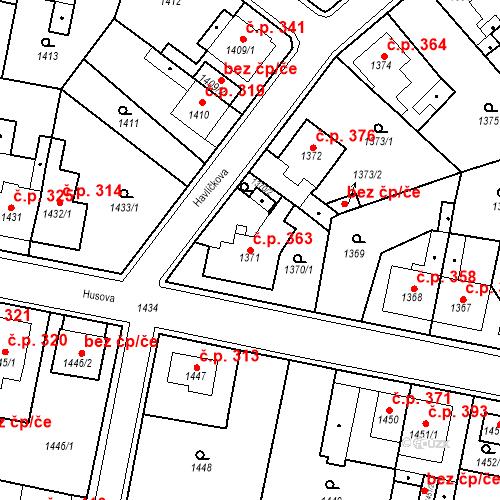 Katastrální mapa Stavební objekt Teplické Předměstí 363, Bílina