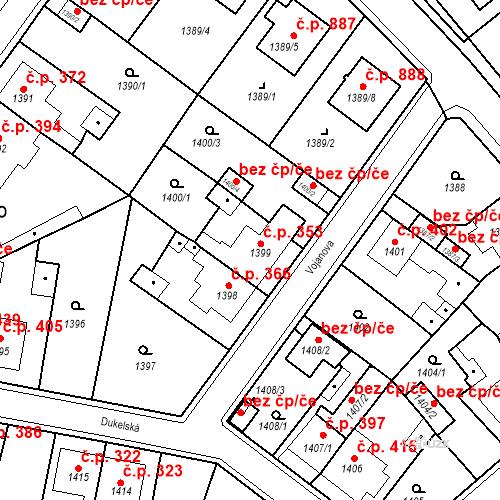 Katastrální mapa Stavební objekt Teplické Předměstí 353, Bílina