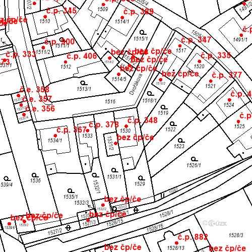 Katastrální mapa Stavební objekt Teplické Předměstí 348, Bílina