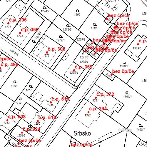 Katastrální mapa Stavební objekt Teplické Předměstí 369, Bílina