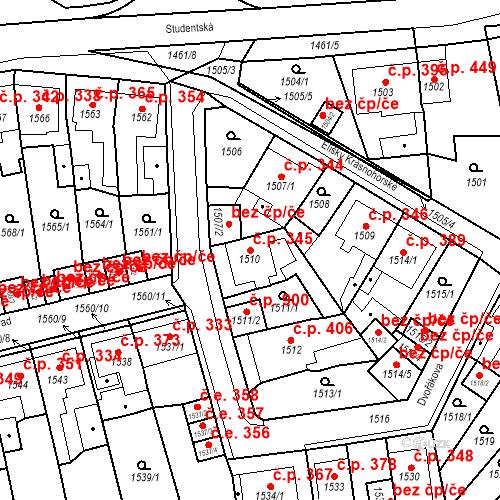 Katastrální mapa Stavební objekt Teplické Předměstí 345, Bílina