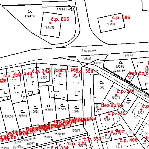 Katastrální mapa Stavební objekt Teplické Předměstí 354, Bílina