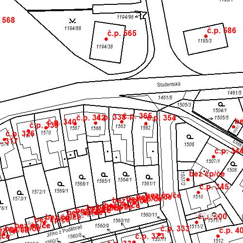 Katastrální mapa Stavební objekt Teplické Předměstí 365, Bílina