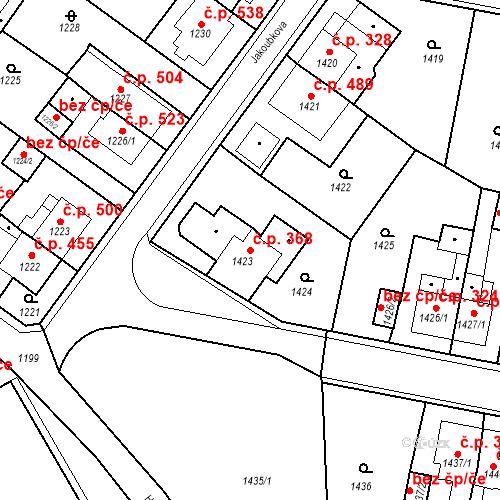 Katastrální mapa Stavební objekt Teplické Předměstí 368, Bílina