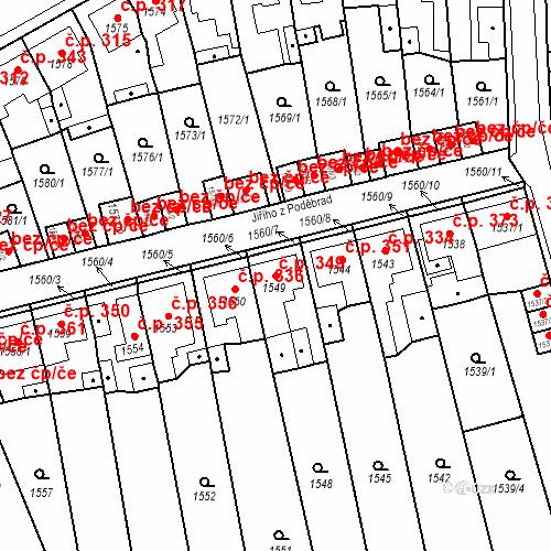 Katastrální mapa Stavební objekt Teplické Předměstí 349, Bílina