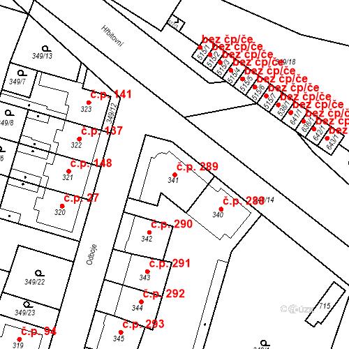 Katastrální mapa Stavební objekt Ledvice 289, Ledvice