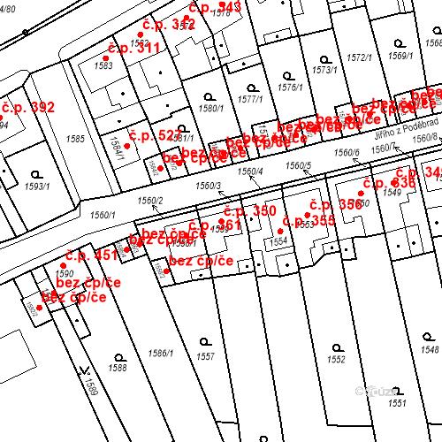 Katastrální mapa Stavební objekt Teplické Předměstí 350, Bílina