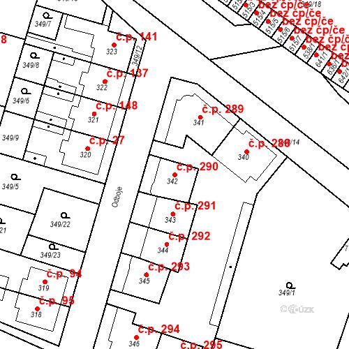 Katastrální mapa Stavební objekt Ledvice 290, Ledvice