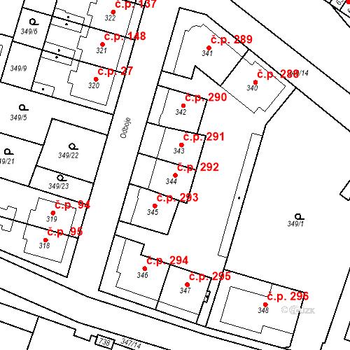Katastrální mapa Stavební objekt Ledvice 292, Ledvice