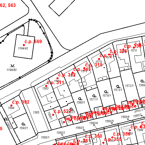 Katastrální mapa Stavební objekt Teplické Předměstí 343, Bílina