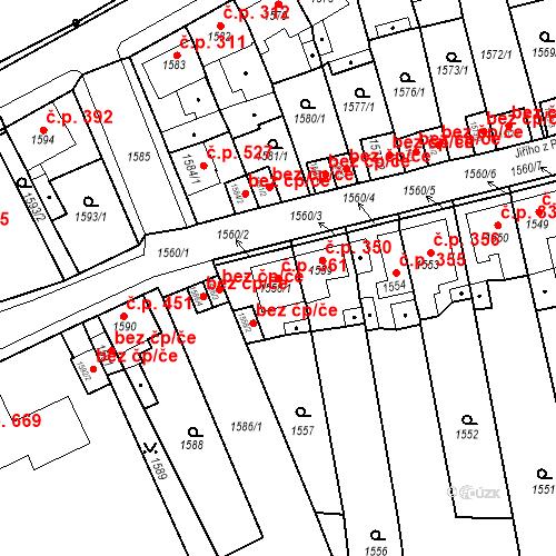 Katastrální mapa Stavební objekt Teplické Předměstí 361, Bílina