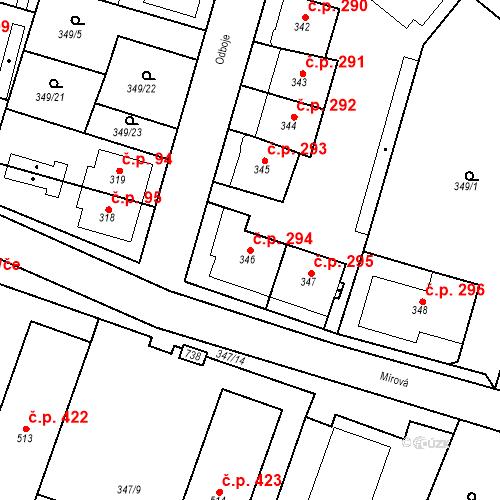 Katastrální mapa Stavební objekt Ledvice 294, Ledvice