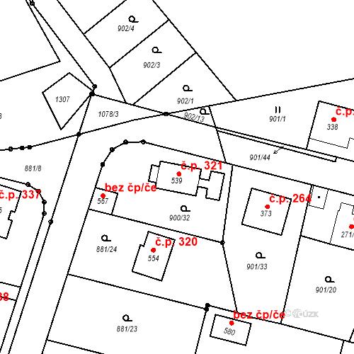 Katastrální mapa Stavební objekt Mirotice 321, Mirotice