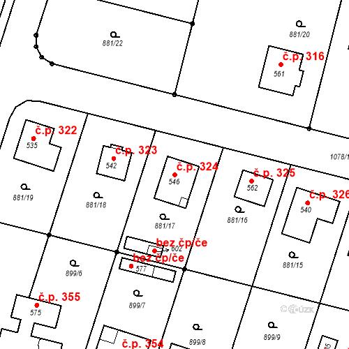 Katastrální mapa Stavební objekt Mirotice 324, Mirotice