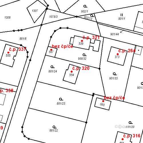Katastrální mapa Stavební objekt Mirotice 320, Mirotice