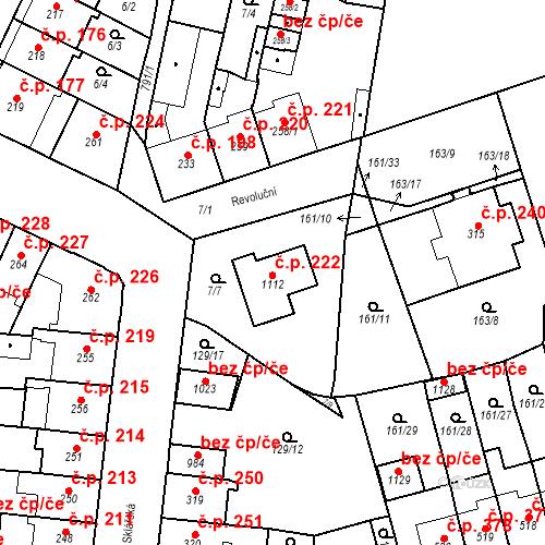 Katastrální mapa Stavební objekt Košťany 222, Košťany