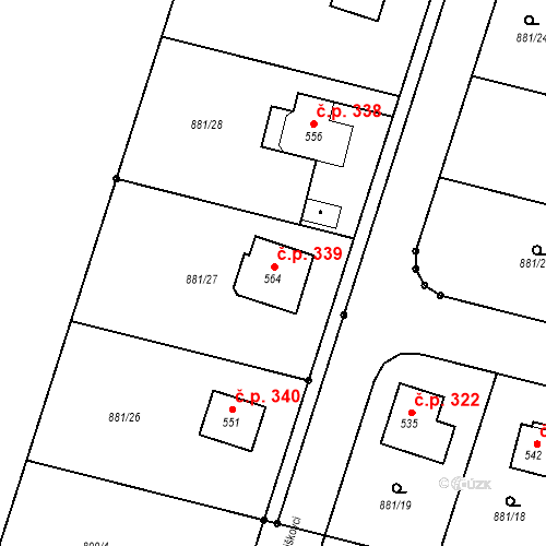 Katastrální mapa Stavební objekt Mirotice 339, Mirotice