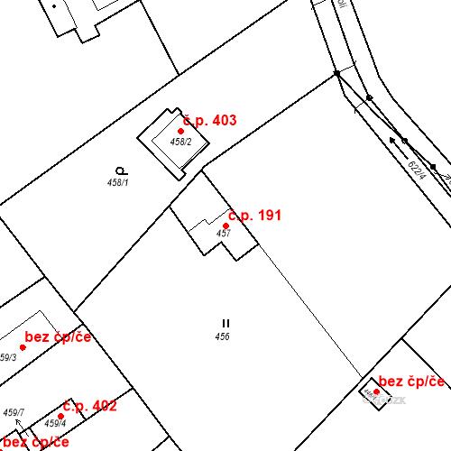 Katastrální mapa Stavební objekt Pražské Předměstí 191, Bílina