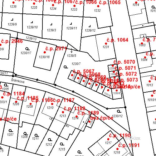 Katastrální mapa Stavební objekt Louny 5068, Louny
