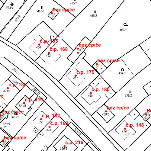 Katastrální mapa Stavební objekt Pražské Předměstí 179, Bílina