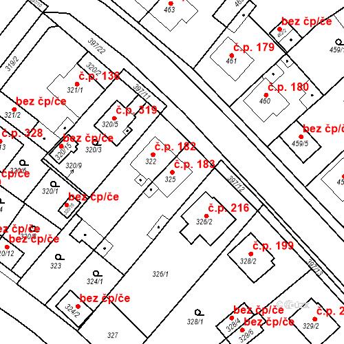 Katastrální mapa Stavební objekt Pražské Předměstí 183, Bílina