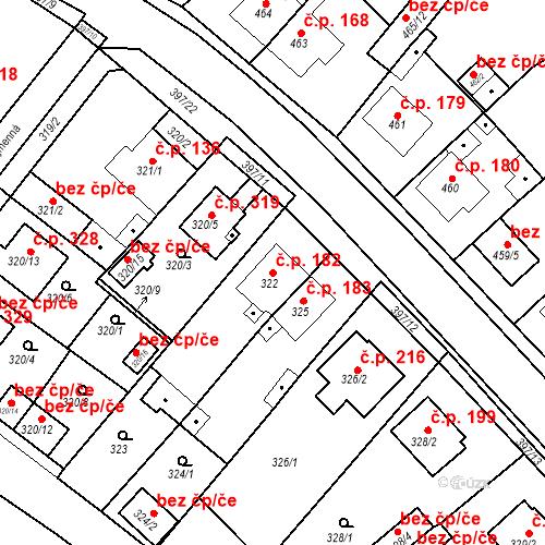 Katastrální mapa Stavební objekt Pražské Předměstí 182, Bílina