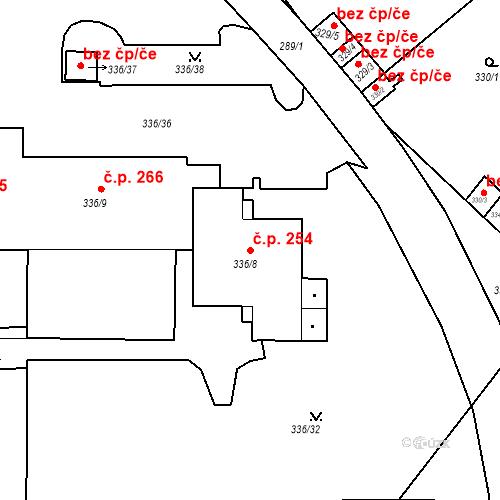 Katastrální mapa Stavební objekt Pražské Předměstí 254, Bílina