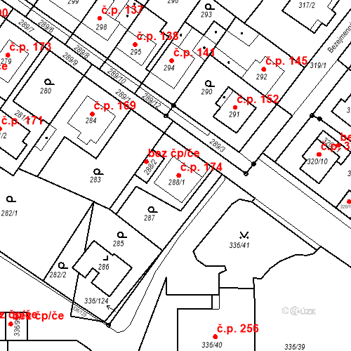 Katastrální mapa Stavební objekt Pražské Předměstí 174, Bílina