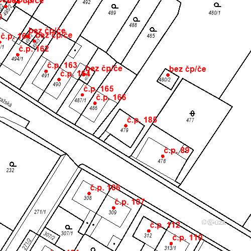 Katastrální mapa Stavební objekt Pražské Předměstí 185, Bílina