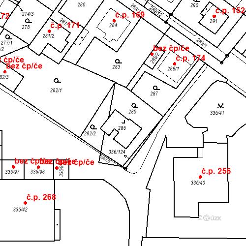 Katastrální mapa Stavební objekt Pražské Předměstí 181, Bílina