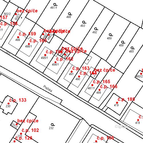 Katastrální mapa Stavební objekt Pražské Předměstí 163, Bílina