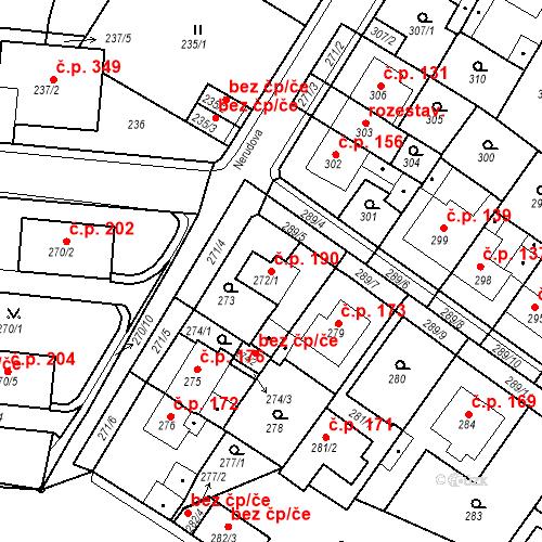Katastrální mapa Stavební objekt Pražské Předměstí 190, Bílina