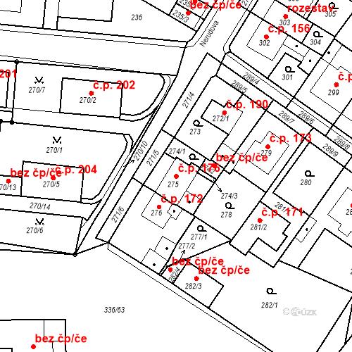 Katastrální mapa Stavební objekt Pražské Předměstí 176, Bílina