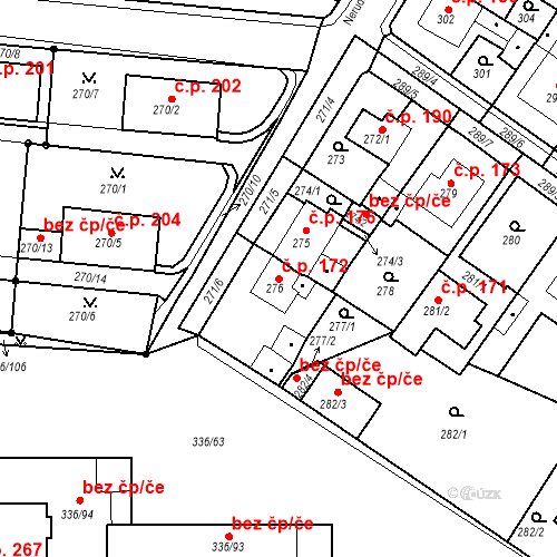 Katastrální mapa Stavební objekt Pražské Předměstí 172, Bílina