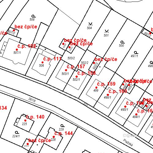 Katastrální mapa Stavební objekt Pražské Předměstí 158, Bílina