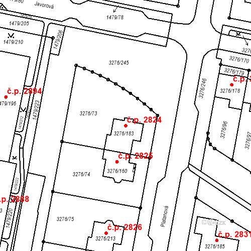 Katastrální mapa Stavební objekt Louny 2824, Louny