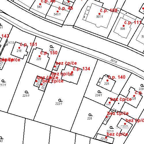 Katastrální mapa Stavební objekt Pražské Předměstí 134, Bílina