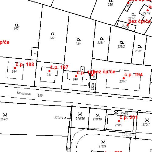 Katastrální mapa Stavební objekt Pražské Předměstí 192, Bílina