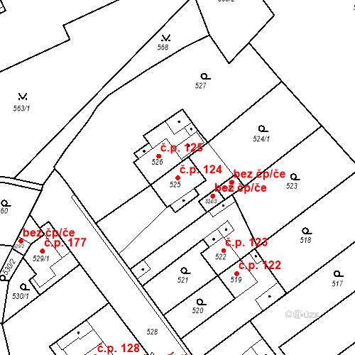 Katastrální mapa Stavební objekt Pražské Předměstí 124, Bílina