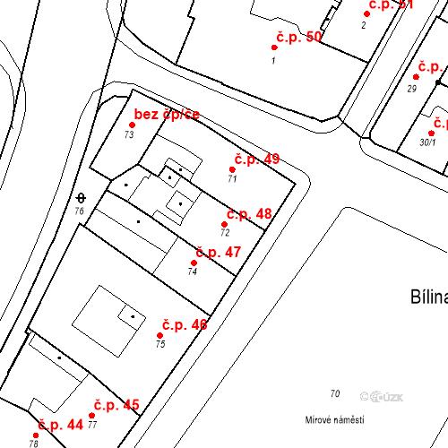 Katastrální mapa Stavební objekt Bílina 48, Bílina