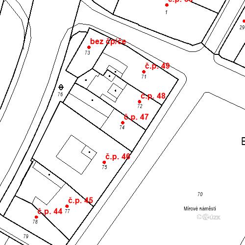 Katastrální mapa Stavební objekt Bílina 47, Bílina