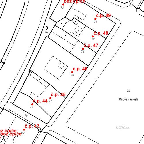 Katastrální mapa Stavební objekt Bílina 46, Bílina