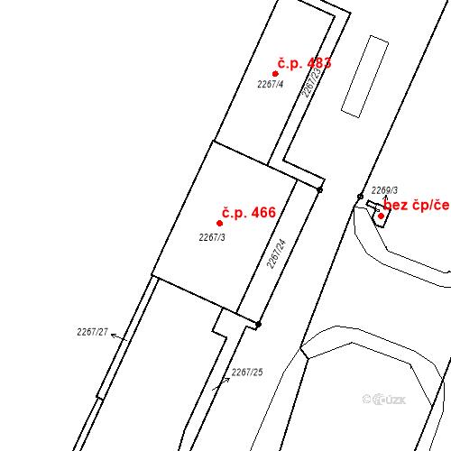 Katastrální mapa Stavební objekt Mostecké Předměstí 466, Bílina
